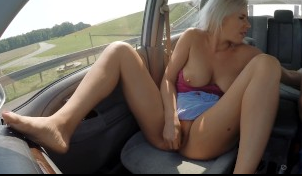 White Haired Bitch Masturbating On Crowded Highway